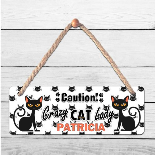 Personalised Crazy Cat Lady ANY NAME Hanging Door Plaque N6